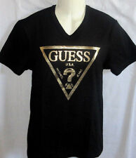 MENS GUESS V-NECK ICONIC LOGO BLACK/GOLD T-SHIRT SIZE L