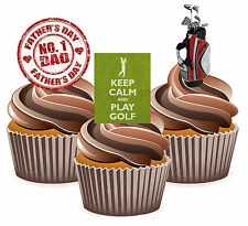 Fathers Day Gift 12 Golf Themed Cup Cake Toppers - Dad Daddy Grandad Husband
