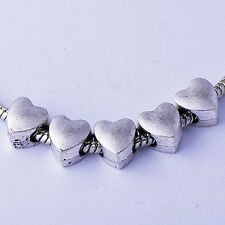 5Pcs Lot Silver Heart Charm Beads Fit European Bracelet crafts Wholesale