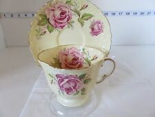 VINTAGE AYNSLEY  CUP AND SAUCER CREAM WITH LARGE ROSE VERY PRETTY