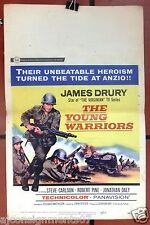 """The Young Warriors (James Drury) 22""""x14"""" Window Card Original Movie Poster 60s"""
