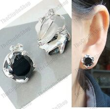 CLIP ON jet cubic zirconia BLACK EARRINGS silver plated CLIPS 8mm cut CZ crystal
