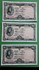 Irish banknotes Lady Lavery Central Bank of Ireland consecutive one pound punt