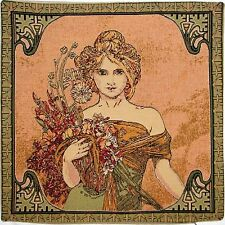 "NEW ALPHONSE MUCHA ""SPRING / PRINTEMPS"" 18"" TAPESTRY CUSHION COVER 15G"