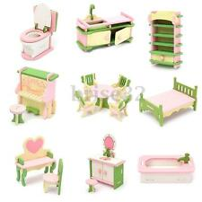 Lot 15 Set Wooden Dollhouse Miniature Furniture Puzzle Model Children Kids Toys
