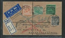 MALAYA FMS (PP2508B) 1936 REG A/M TO FRANCE RETURNED, ALSO PERAK+ PAHANG STAMPS
