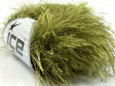 38Yd Olive Green Extra Long Eyelash Yarn Ice Luxurious Green Fun Fur 14164