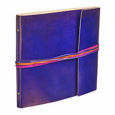 Fair Trade Handmade 3 String Cornflower Blue Leather Photo Album Scrapbook