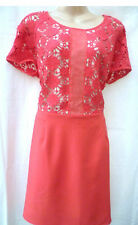MADEMOISELLE R CORAL GUIPURE LACE AND CREPE DRESS SIZE 16 UK (EU 44)