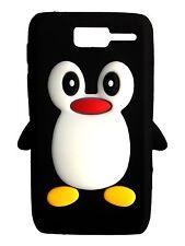 Black Silicone Penguin Phone Case / Cover for Motorola RAZR D1 XT916 XT918