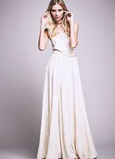 $300 Free People Silver Screen Maxi Dress Embellished Ivory Gown sz 2