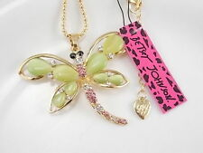 Betsey Johnson fashion jewelry Green Cat 's Eye Dragonfly pendant necklace #A115