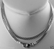 Solid 14k white gold square wheat chain 2.2mm thick 7.4g Italian Fluid as Water!
