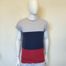 Cedarwood State Mens Grey Blue Red Block Casual Everyday T Shirt Size Small