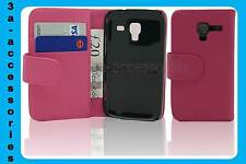Pink Leather Wallet Pouch Flip Case Cover For Samsung Galaxy Ace 2 GT-I8160