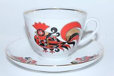 Russian Imperial Lomonosov Porcelain Tea cup and saucer Red cockerels Rooster