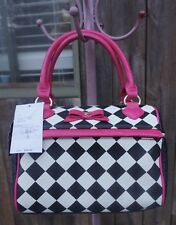 Betsey Johnson Black White Pink Harlequin Checker Speedy Lunch Box Tote Bag NWT