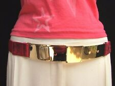 Women High Waist Hip Gold Thin Metal Plate Mirror Buckle Belt Elastic Red S M L