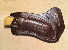 Custom Leather Crossdraw Sheath w/round basketweave for BUCK 110/112 Knife