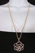 New Women Fashion Necklace Gold Metal Chain Flower Pendant Silver Rhinestone 22""