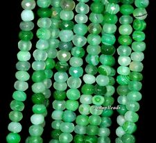 6X4MM GREEN AGATE GEMSTONE STRIPED FACETED RONDELLE 6X4MM LOOSE BEADS 7""