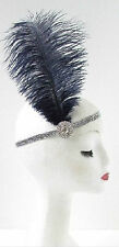 Ostrich Feather Headband Flapper 1920s Great Gatsby Vintage Headpiece Silver Z01