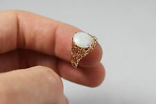 14K Yellow Gold and Milky Opal Ring