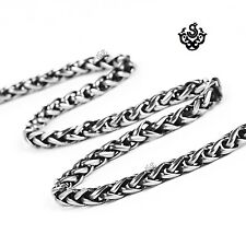 Silver black necklace solid stainless steel twisted Chain
