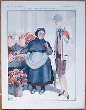 La Vie Parisienne impresión leonnec 1928 Art Deco aleta niña y flor vendedor