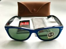 RARE Genuine Ray Ban NEW WAYFARER G-15 Lens Blue on Black RB2132 58▫️18