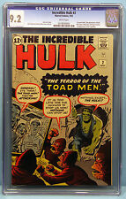 INCREDIBLE HULK#2 CGC 9.2 MARVEL 1st GREEN SKINNED HULK! Major Key Issue!