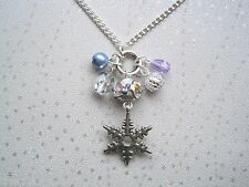 *SILVER SNOWFLAKE CHARM BEAD CLUSTER* NECKLACE Silver Plated Snow Flake Gift Bag