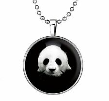 Fashion Punk Style Panda Glow in the Dark Stainless Steel Necklace Pendan