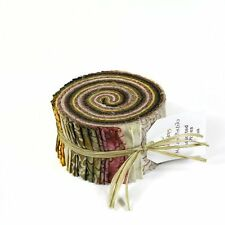 RJR Malam Batik JAVA Brown Cream Pink Assorted Pixie Strips Jelly Roll Fabric