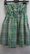 Green and Pink Check Strapless Dress by Jack Wills size 10