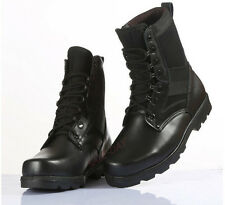 Mens Womens Leather Military Tactical Outdoor Climbing Hiking Combat Boots Black