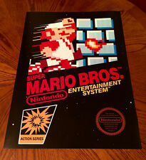 "Super Mario Bros NES box art retro video game 24"" poster print nintendo 80s"