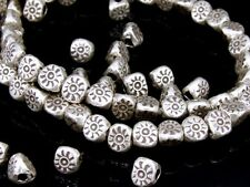 KE-003 KSB THAI KAREN HILL TRIBE HANDMADE SILVER 16 SUN PRINT THREE FACET BEAD
