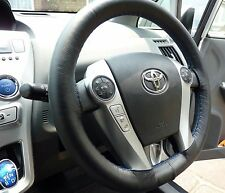 FITS TOYOTA PRIUS 3 09-15 REAL BLACK LEATHER STEERING WHEEL COVER BLUE STITCHING