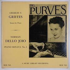 GRIFFES, JOIO: Piano Sonata DEL PURVES 50s Music Library LP Rare