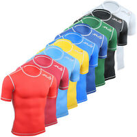 Sub Sports Dual Compression Top SS Base Layer Gym Skin Tight Fit Shirt Mens Boys