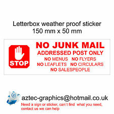 NO JUNK MAIL - Letterbox Door  Window Sticker Sign