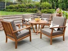 5 Pce Outdoor Timber Lounge Setting  4 Chairs and a Table