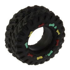 Pet Dog Cat Animal Chews Squeaky Sound Rubber Tire Shape Dog Toy New BE