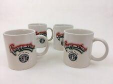 Set Of 4 Frappuccino Starbucks Coffee Mug White Ceramic Siren Logo Tea LINYI