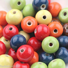 Hot 10Pcs Chic Flat Ceramic Spacer Beads Porcelain Charm Jewelry Making DIY 10mm
