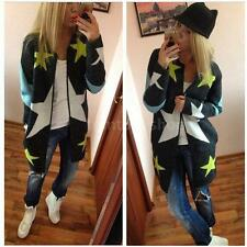 Star Print Cardigan Coat Oversized Women Long Sleeve Sweater Jumper Jacket G9W5