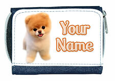 POMERANIAN DOG PERSONALISED LADIES / GIRLS DENIM PURSE  *NAMED GIFT / PRESENT*