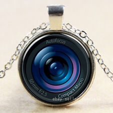 New Camera Cabochon Silver plated photo Glass Chain Pendant Necklace #25
