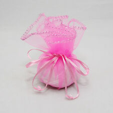 100 Pink Circle Organza Candy Favor Bags w/ Drawstring Weddings Parties